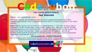 Cadeaubon A3 logo fotokalender liggend Jubelkalender