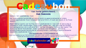 Cadeaubon A5 logo fotokalender liggend Jubelkalender