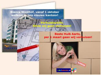 Voorbeeld persoonlijke verhuisbericht fotokaarten service bedrijven
